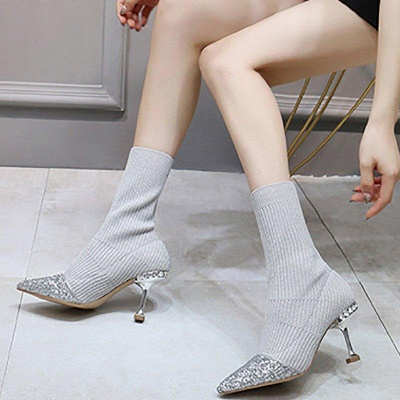 Daily Pointed Toe Cone Heel Knitted Fabric Boots_5