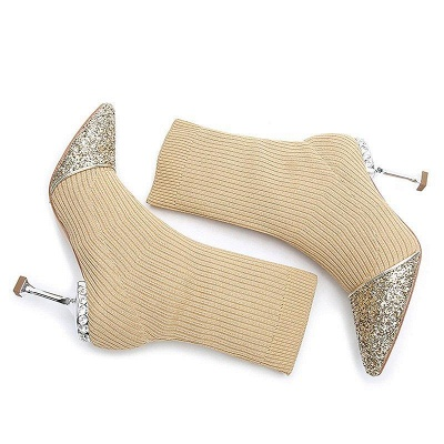 Daily Pointed Toe Cone Heel Knitted Fabric Boots_3