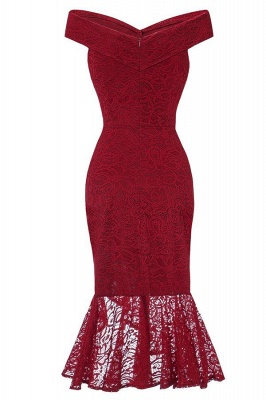 Sexy Off-the-Shoulder Mermaid Lace Burgundy Dress On Sale_2