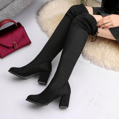 Black Suede Daily Chunky Heel Round Toe Boots_2