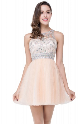Simple Crew Beading Sleeveless Tulle Short Prom Dress On Sale_7