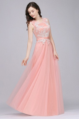 Pink A-line Prom Dress with Lace Appliques On Sale_9