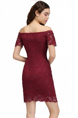 Burgundy Lace Sheath Homecoming Dress Short Sleeves Cocktail Dress On Sale_3