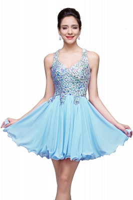 Chic Crisscross-straps Crystal Beads Ruffle Chiffon Sweetheart Short Prom Dress On Sale_3