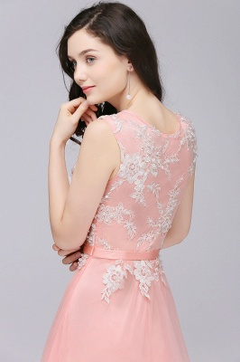 Pink A-line Prom Dress with Lace Appliques On Sale_8