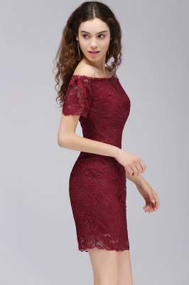 Burgundy Lace Sheath Homecoming Dress Short Sleeves Cocktail Dress On Sale_5