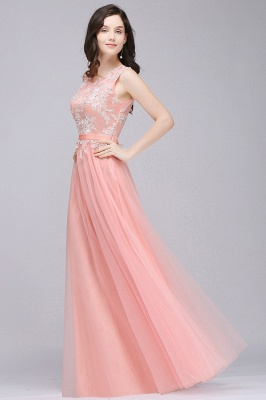 Pink A-line Prom Dress with Lace Appliques On Sale_6
