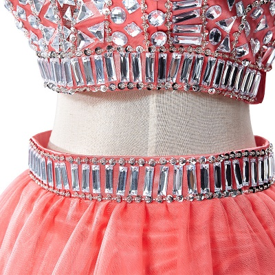 Sexy Crystal Beads Tulle Sleeveless Two-piece Short Prom Dress On Sale_13