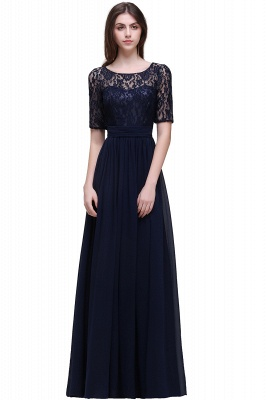 Half-Sleeve Lace Long Chiffon Evening Dress On Sale