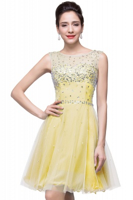 Open Back Sleeveless Chiffon Homecoming Dress Crystal Beads Tulle Short Prom Dress On Sale_4