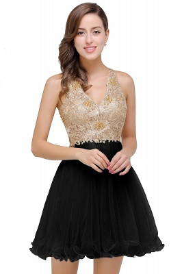 Short Tulle A-line V-Neck Appliques Sleeveless Prom Dress On Sale_3