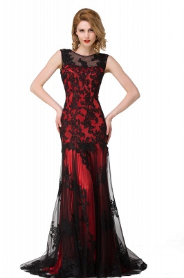 Scoop Neck Mermaid Black lace Applique Evening Prom Dress On Sale_2