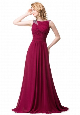 Chiffon A-line Sexy Sparkly Crystal Long Prom Evening Dress On Sale_1