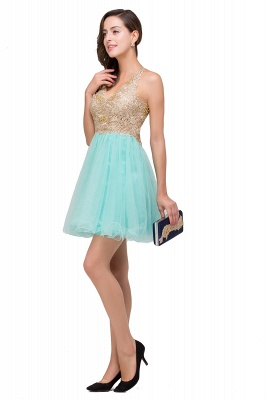 Short Tulle A-line V-Neck Appliques Sleeveless Prom Dress On Sale_8
