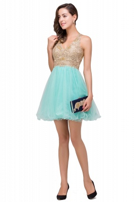 Short Tulle A-line V-Neck Appliques Sleeveless Prom Dress On Sale_10