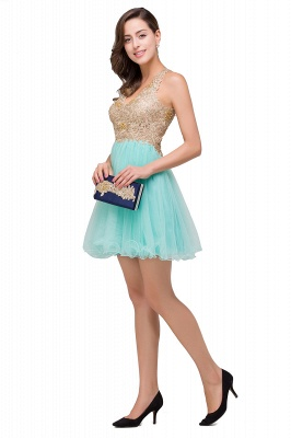 Short Tulle A-line V-Neck Appliques Sleeveless Prom Dress On Sale_7