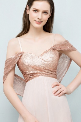 A-line Sweetheart Off-shoulder Spaghetti Long Sequins Chiffon Prom Dress On Sale_4