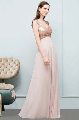 A-line Sweetheart Off-shoulder Spaghetti Long Sequins Chiffon Prom Dress On Sale_6