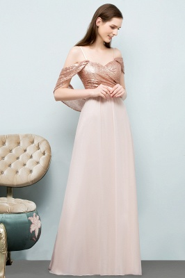 A-line Sweetheart Off-shoulder Spaghetti Long Sequins Chiffon Prom Dress On Sale_8