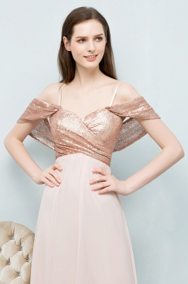 A-line Sweetheart Off-shoulder Spaghetti Long Sequins Chiffon Prom Dress On Sale_9