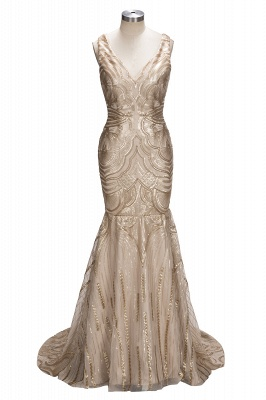 Deep V-neck Champagne Gold Sequins Prom Dresses 2020 Mermaid Sleeveless Sexy Evening Gown FB0007_1