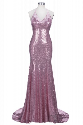 Rose Pink Mermaid Sequins Party Dresses Spaghetti Strap Long Evening Gowns AE0124_1