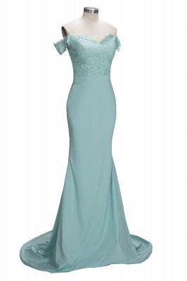 Lace Off The Shoulder Dress for Maid of Honor Mermaid Mint Long Bridesmaid Dress_1