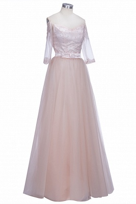 A-line Lace Glamorous Half Sleeves Evening Gown 2020 Cheap Off The Shoulder Tulle Prom Dresses_1