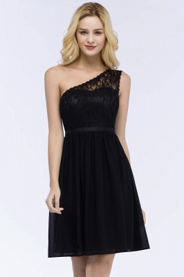 Top Short Homecoming Lace Dresses A-line One-shoulder Chiffon with Sash_4