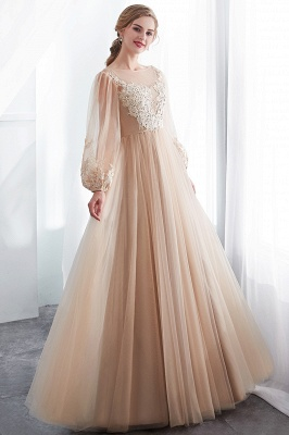 Gorgeous Long Sleeve Tulle Prom Dress | Long Evening Party Gowns With Appliques_7