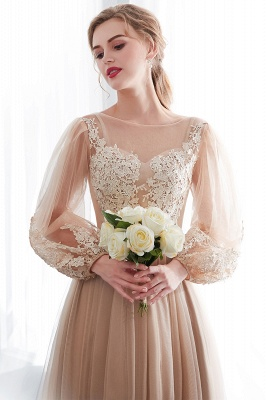 Gorgeous Long Sleeve Tulle Prom Dress | Long Evening Party Gowns With Appliques_8