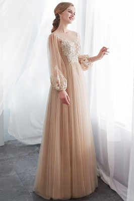 Gorgeous Long Sleeve Tulle Prom Dress | Long Evening Party Gowns With Appliques_4