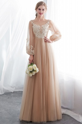 Gorgeous Long Sleeve Tulle Prom Dress | Long Evening Party Gowns With Appliques_6