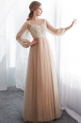Gorgeous Long Sleeve Tulle Prom Dress | Long Evening Party Gowns With Appliques