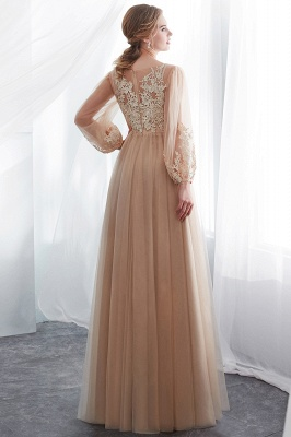 Gorgeous Long Sleeve Tulle Prom Dress | Long Evening Party Gowns With Appliques_3