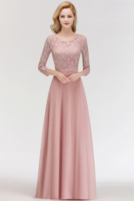Pink Lace Long Evening Dresses with Sleeves | 2020 A-Line Scoop Bridesmaid Dresses Cheap_1