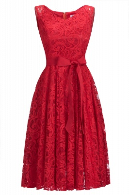Simple Sleeveless A-line Red Lace Dress with Ribbon Bow On Sale_1