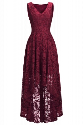 Red Lace Hi-Lo Christmas Party Dress CPS1149_7