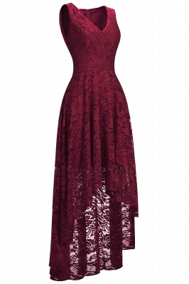 Red Lace Hi-Lo Christmas Party Dress CPS1149_2