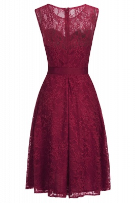 A-line Sleeveless Burgundy Lace Dress with Bow On Sale_6