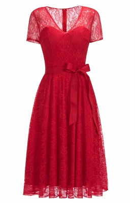 Red Short Sleeve Lace Christmas Dress V-Neck CPS1144