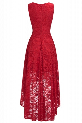 Red Lace Hi-Lo Christmas Party Dress CPS1149_5