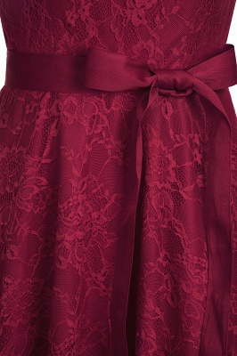 A-line Sleeveless Burgundy Lace Dress with Bow On Sale_13