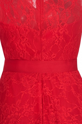 A-line Sleeveless Burgundy Lace Dress with Bow On Sale_9