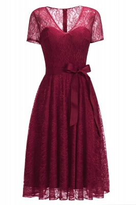 V-neck Short Sleeves Lace Dress with Bow Sash On Sale_2