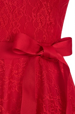 V-neck Short Sleeves Lace Dress with Bow Sash On Sale_5