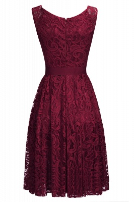 Simple Sleeveless A-line Red Lace Dress with Ribbon Bow On Sale_5