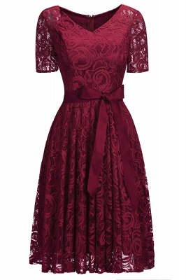 Burgundy Lace Short Sleeves Bowknot Christmas Dress CPS1146_2