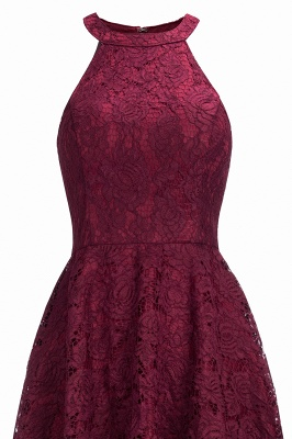 Halter Burgundy Lace Christmas Dress CPS1151_4