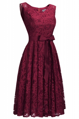 Simple Sleeveless A-line Red Lace Dress with Ribbon Bow On Sale_4